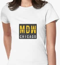MDW - Chicago Midway Airport Code Women's Fitted T-Shirt