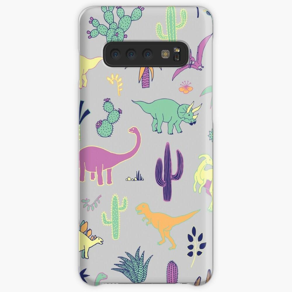Dinosaur Desert - peach, mint and navy - fun pattern by Cecca Designs Case & Skin for Samsung Galaxy