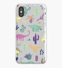 Dinosaur Desert - peach, mint and navy - fun pattern by Cecca Designs iPhone Case/Skin
