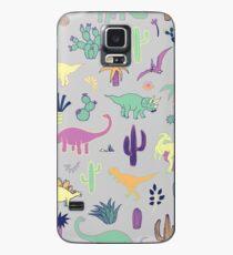 Dinosaurier-Wüste - Pfirsich, Minze und Marine - Spaßmuster durch Cecca Designs Hülle & Klebefolie für Samsung Galaxy
