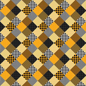 Orange Black and White Diagonal Country Patchwork Quilt by Creepyhollow