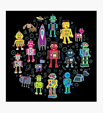 Robots in Space - black - fun pattern by Cecca Designs Photographic Print