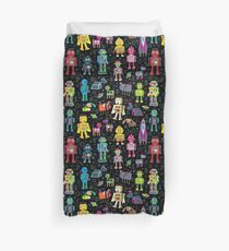 Robots in Space - black - fun pattern by Cecca Designs Duvet Cover