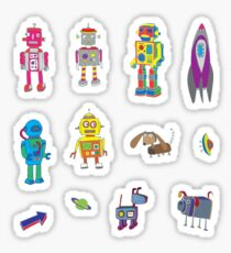 Robots in Space - black - fun pattern by Cecca Designs Sticker