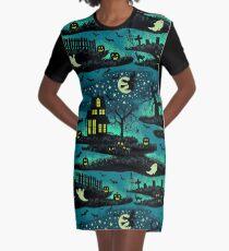 Magical Halloween Night - FoxFire Green Graphic T-Shirt Dress