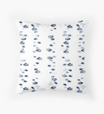 Blue small fishes Throw Pillow