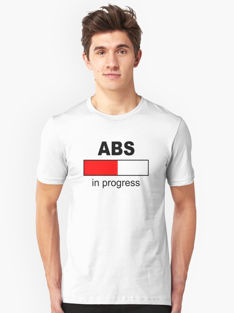 ABS in progress - Black - Red Unisex T-Shirt Front