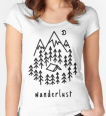 Wanderlust Travel Adventure Traveller Sticker book notebook laptop case iphone Women's Fitted Scoop T-Shirt