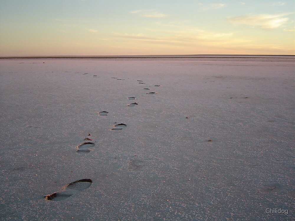 Lake Eyre footsteps by Chilidog