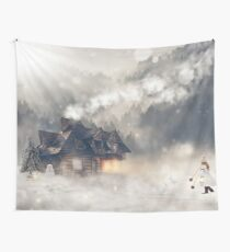 Winter House  Wall Tapestry