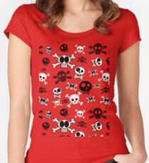 Halloween Cartoon Skull Pattern on White Women's Fitted Scoop T-Shirt