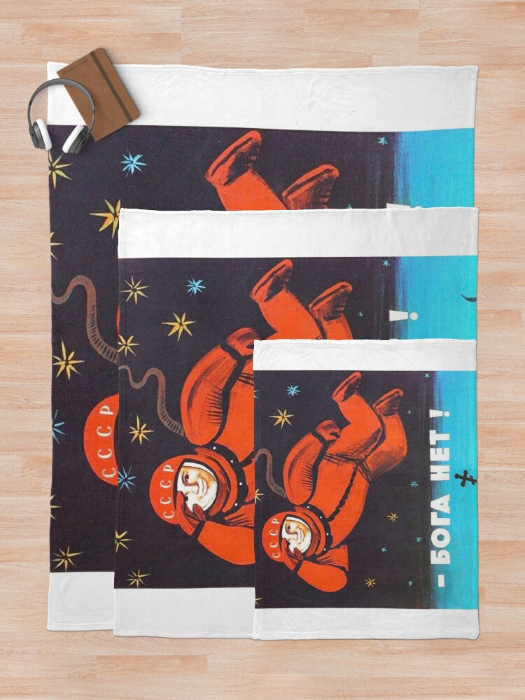 """Alternate view of """"There's no god! / Бога Нет!"""" Retro 1960's USSR anti-religious propaganda poster of Cosmonaut Yuri Gagarin in Space Throw Blanket"""