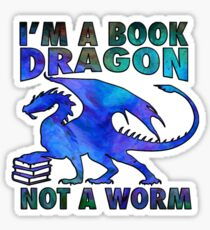 Pegatina Soy un dragón de libros, no un gusano en acuarela azul profundo