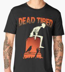 Funny Dead Tired Skeleton Graveyard Halloween Party T-shirt  Men's Premium T-Shirt