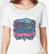 Christmas Typography Love Joy Peace Happy Holidays Banner Relaxed Fit T-Shirt