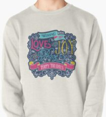 Christmas Typography Love Joy Peace Happy Holidays Banner Pullover Sweatshirt