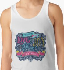 Christmas Typography Love Joy Peace Happy Holidays Banner Tank Top