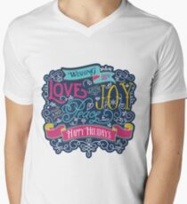 Christmas Typography Love Joy Peace Happy Holidays Banner V-Neck T-Shirt