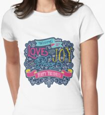 Christmas Typography Love Joy Peace Happy Holidays Banner Women's Fitted T-Shirt