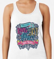 Christmas Typography Love Joy Peace Happy Holidays Banner Racerback Tank Top
