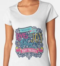 Christmas Typography Love Joy Peace Happy Holidays Banner Premium Scoop T-Shirt
