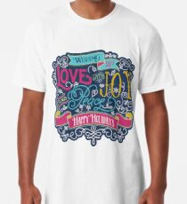 Christmas Typography Love Joy Peace Happy Holidays Banner Long T-Shirt