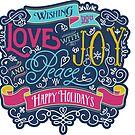 Christmas Typography Love Joy Peace Happy Holidays Banner by Beverly Claire Kaiya