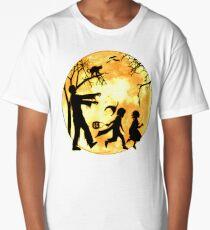Halloween Funny Dead Man Walking Scared Kids Running Party T-shirt  Long T-Shirt