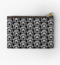 Angel Bully dog! Sweet English Bulldog with halo in black and white Studio Pouch