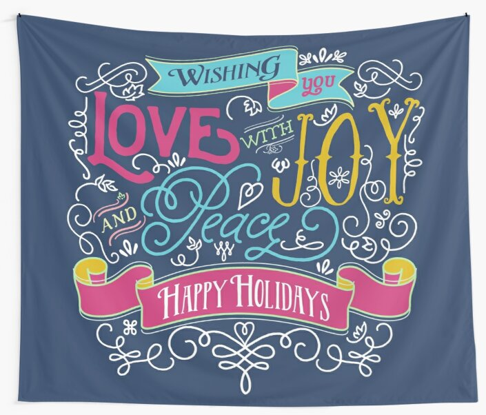Love Joy Peace Christmas Typography Happy Holidays Banner by Beverly Claire Kaiya