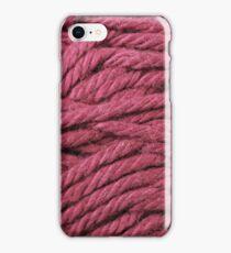 Burgundy Yarn Texture Close Up iPhone Case/Skin