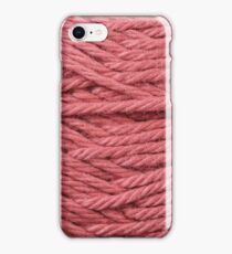 Red Yarn Texture Close Up iPhone Case/Skin