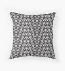 Japanese Seigaiha Black and white | Pattern Throw Pillow