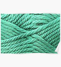 Aquamarine Yarn Texture Close Up Poster