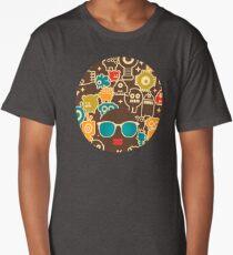 Robots on brown Long T-Shirt