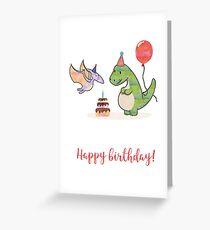 Tarjeta de felicitación Lindo dinosaurio con globo