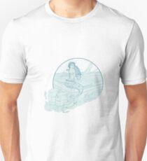 Mermaid Sitting on Boat Drawing Unisex T-Shirt