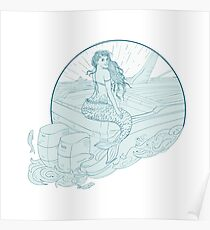 Mermaid Sitting on Boat Drawing Poster