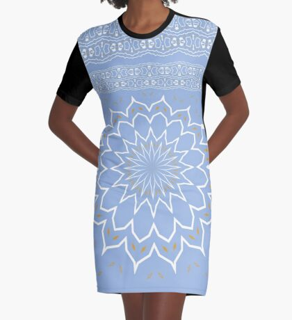 Powder Blue Abstract Flower Graphic T-Shirt Dress