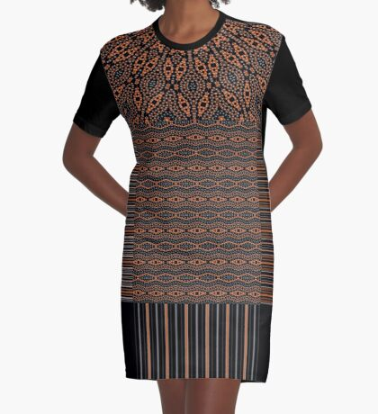 Brown and Black Elegance Graphic T-Shirt Dress