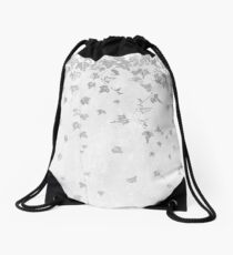 Silver Gray Trailing Ivy Leaf Print Drawstring Bag
