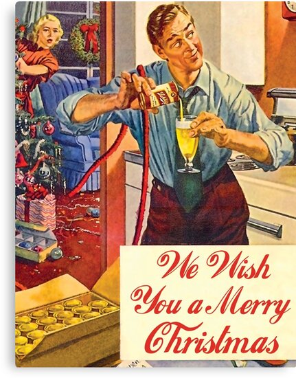 Husband with drink problems, funny vintage Christmas greeting ...