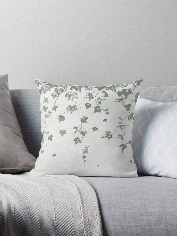 Gray Green Trailing Ivy Leaf Print by itsjensworld