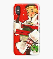 Happy holiday shopping girl, vintage Christmas greeting card iPhone Case/Skin