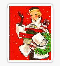 Happy holiday shopping girl, vintage Christmas greeting card Sticker