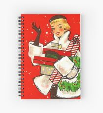 Happy holiday shopping girl, vintage Christmas greeting card Spiral Notebook