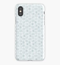 Modern Hexagon Pattern in Silvery Blue and White iPhone Case/Skin