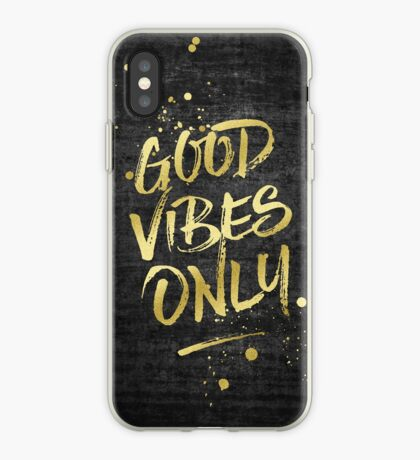 Good Vibes Only Gold Glitter Rough Black Grunge iPhone Case