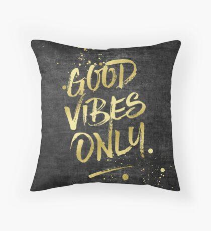 Good Vibes Only Gold Glitter Rough Black Grunge Throw Pillow