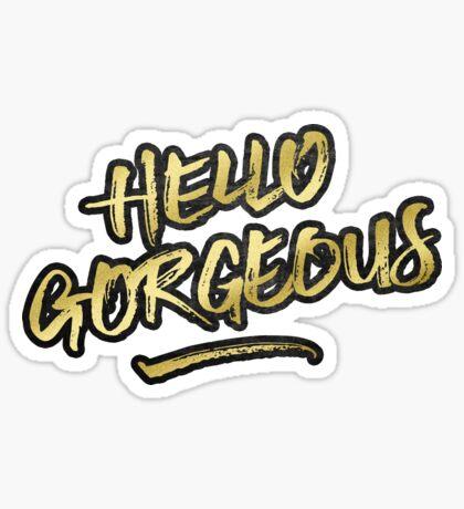 Hello Gorgeous Gold Glitter Rough Black Grunge Sticker